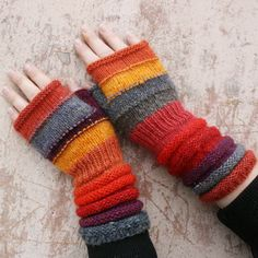 Winter Berry Unmatched Hand Knit Fingerless Mittens -warm and fuzzy wrist warmers in wool and mohair. $42.00, via Etsy.  LOVE these colors!