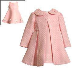 $44.10-$63.00 Baby Size-24M BNJ-0825-R 2-Piece PINK WHITE JACQUARD DOT Special Occasion Wedding Flower Girl Easter Party Dress/Coat Set,R10825 Bonnie Jean BABY/INFANT - Beautiful PINK & WHITE JACQUARD DOT DRESS and COAT SET features sleeveless PINK A-LINE DRESS with PINK/WHITE-DOTTED INSET at the waist and WHITE BOW ACCENT at the PINK/WHITE-DOTTED BORDER HEM with back zip closure and BUTTON-SASH ...