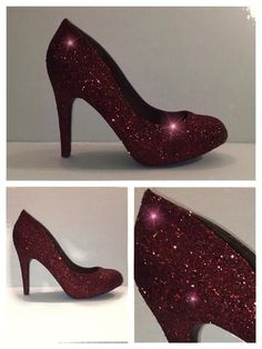 Sparkly Burgundy Maroon Deep Red Wine sparkly Glitter high & low Heels Stiletto wedding bride shoes - Glitter Shoe Co