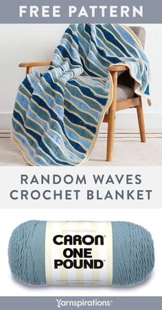 Free Random Waves Crochet Blanket pattern using Caron One Pound yarn. The appeal of this crochet blanket is perfect for creating a relaxed atmosphere in the bedroom or your quiet space. Ocean colors combine with random 'waves' throughout, to create a soothing effect. Back loop stitch rows in a contrast color, further enhance the contours of the waves. #Yarnspirations #FreeCrochetPattern #CrochetAfghan #CrochetThrow #CrochetBlanket #TripleCrochet #CrochetBackPost #CaronYarn #CaronOnePound Knit Or Crochet, Free Crochet, Afghan Crochet Patterns, Knitting Patterns, Caron One Pound Yarn, Caron Yarn, Ocean Colors, Wave Pattern, Contrast Color