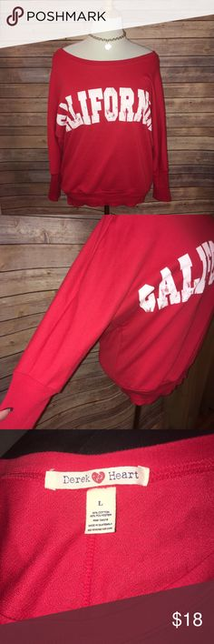 Slouchy California Sweatshirt Super cute and comfy slouchy sweatshirt in bright red shade with white California graphic. Excellent condition. Check out my other listings to bundle and save 25% 😎! Derek Heart Tops Sweatshirts & Hoodies