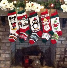 Hand Knitted Christmas Stockings Angel Penguin Snowman Sled