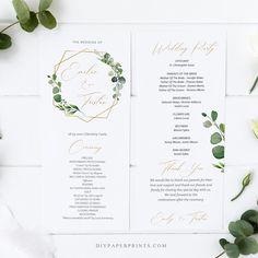 Greenery Wedding Program Template, Printable Order of Service, 100% Editable Text, Flat Program, Diy, INSTANT DOWNLOAD, AMY by DIYPaperPrints on Etsy