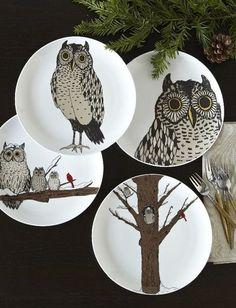 west elm owl plates