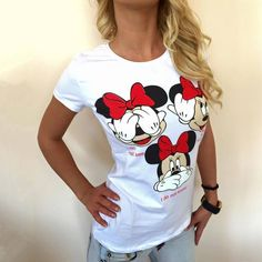 Blusas Femininas Womens Blouses Casual Blouse Shirts Short Sleeves O-Neck Tops Tee Woman White Shirts Women, T Shirts For Women, Clothes For Women, White Blouses, White Shirt Outfits, Spring T Shirts, Minnie Mouse, Collars For Women, Women's Summer Fashion