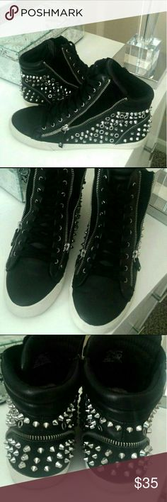 ZARA genuine leather studded sneakers Soft genuine black leather lace up sneakers with side zipper detail and suede inset.  All studs are intact and shoes are in great condition, super comfortable with usual wear under sole, I don't have the original box. Original price paid was $99 Zara Shoes Sneakers