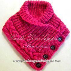 Cuello tejido en Dos Agujas / Paso a paso   Crochet y Dos agujas                                                                                                                                                      Más