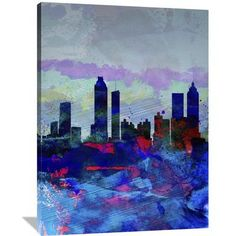 Naxart 'Atlanta Watercolor Skyline' Painting Print on Wrapped Canvas Size: