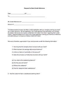 Printable Sample Credit Reference Form Form