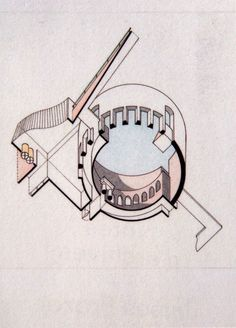 worm's eye axo - Staatsgalerie Stuttgart - Stirling, Wilford - completed 1984 Paper Architecture, Architecture Graphics, Architecture Drawings, Architecture Diagrams, James Stirling, James Frazer, Worms Eye View, Axonometric Drawing, Cartography