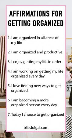 These affirmations for getting organized will encourage you to organize your life! How to be a more organized person in 2019 and organize your life. If you want organization tips and don Affirmations For Women, Positive Affirmations Quotes, Self Love Affirmations, Morning Affirmations, Law Of Attraction Affirmations, Affirmation Quotes, Positive Quotes, Gratitude Quotes, Mantra
