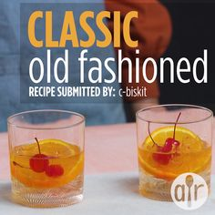 One of the great classic bourbon cocktails, the Old Fashioned was invented in Louisville, KY. Try bourbon, rye, or a blended whiskey in this cocktail. You can also sub one sugar cube for the simple syrup. Classic Old Fashioned Recipe, Bourbon Old Fashioned, Old Fashioned Drink, Old Fashioned Recipes, Recipe For Old Fashioned Cocktail, Bourbon Cocktails, Easy Cocktails, Cocktail Drinks, Spring Cocktails