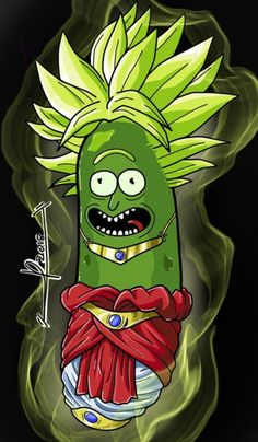 Rick and Morty x Broly Pickle Rick! R Rick And Morty, Horror Movie Characters, Retro, Tv, Wallpaper, Dc Comics, Balls, Childhood, Kawaii