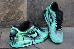 hot sale online 43147 f2bfa Custom Nike Air max 90 mint Black Abstract graffiti Drip Sneaker UNIKAT  Rare