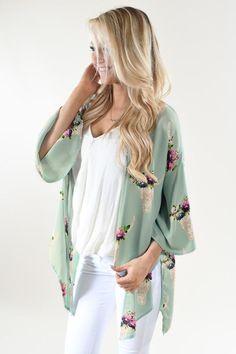 Mint Floral Skull Kimono
