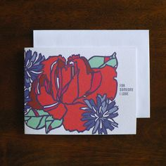 LOVE : Heart Red Rose by littlegreencards on Etsy