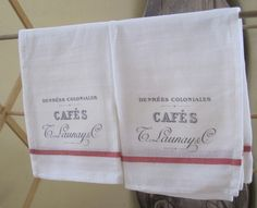 french grainsack shabby chic dish towels set of 2. $12.00, via Etsy. Cute gift for Christmas or anytime.