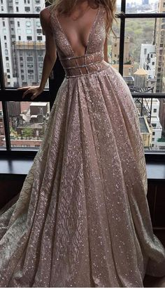 Sexy Deep V-neck Sleeveless Court Train Prom Dress Backless with Sequins prom,prom dress,long prom dress,sexy prom dress,fashion,women's fashion