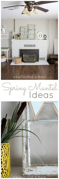 This spring mantel has subtle hues mixing old and new!  Love it!!