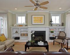 Bookshelves Fireplace Design