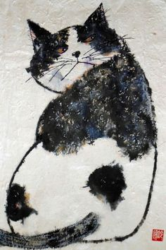 Cat Ink Painting Deuteronomy by HawaiiCats Cats in Art and Illustration: Miroco Machiko Animal Paintings, Art Paintings, Indian Paintings, Abstract Paintings, Image Chat, Photo Chat, Cat Drawing, Crazy Cats, Weird Cats