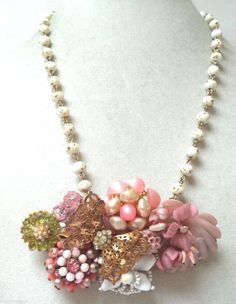 STUNNING VINTAGE ESTATE OOAK ONE OF A KIND RHINESTONE FLOWER NECKLACE!!! G2280