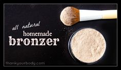 All natural bronzer:  1 Tbs. cinnamon powder  1 tsp cocoa powder  1 tsp nutmeg powder  2 tsp cornstarch  15 drops lavender or rosemary essential oil  *For loose powder, leave out essential oils.  1. Adjust ing.s to your shade, mix well in a small bowl, break up clumps until smooth. Place powder in empty compact, pack in firmly.  Cinnamon provides glow.  Cocoa depth & darkness  Nutmeg a sun-kissed brown.  Cornstarch spreads it all out & lightens it.  Essential oil keeps it together & thickens it.