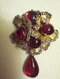 Miriam Haskell Signed Antique Brooch Handwired Seed Pearls Red Cabochon Rhinesto | eBay
