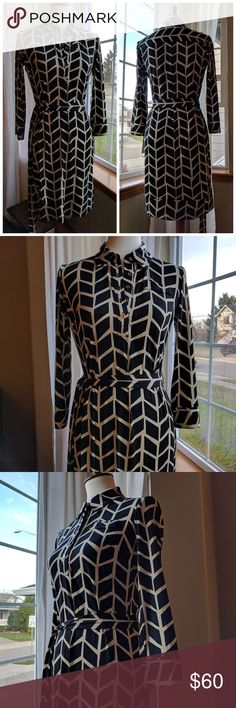 Donna Morgan - Marlowe Jersey shirt-dress Brand New Donna Morgan Marlowe Jersey shirt-dress. With tags, never been worn and beautiful!  Black & beige arrow print, matching tie belt, gold button up shirt style w/ single breast pocket. This dress is really beautiful and impeccably made.   Size 2 but can easily fit a size 4 as well. From smoke-free home ✌️ Donna Morgan Dresses Long Sleeve