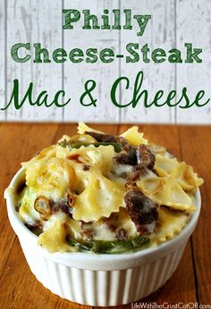 Philly Cheese-Steak Mac & Cheese  14 Frozen steak-ums 1 onion thinly sliced campaignIcon Coupons 1 green pepper thinly sliced 1 pound bow tie pasta 2 tablespoons butter 2 tablespoons flour 3 cups milk 1½ cups provolone (I just cut up deli provolone) 1½ cups mozzarella