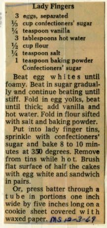 Lady Fingers - Historic Recipe - Collections hosted by the Milwaukee Public Library Retro Recipes, Old Recipes, Vintage Recipes, Cookie Recipes, Italian Recipes, Family Recipes, Recipies, Healthy Recipes, No Bake Desserts
