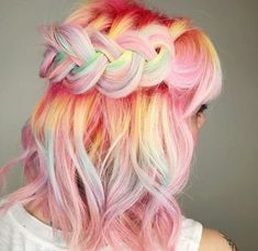 Looking for hair inspiration, color ideas such as mermaid hair, rainbow hair color, pastel hair color ideas you cant help but love how cute Hair Color For Dark Skin, Pelo Multicolor, Unicorn Hair Color, Mermaid Hair, Mermaid Makeup, Crazy Hair, Pretty Hairstyles, Hairstyle Ideas, Rainbow Hairstyles