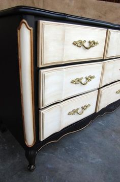 French Provincial Hand Painted Dresser - black+cream-gold -  a 3 tone beauty! Description from pinterest.com. I searched for this on bing.com/images