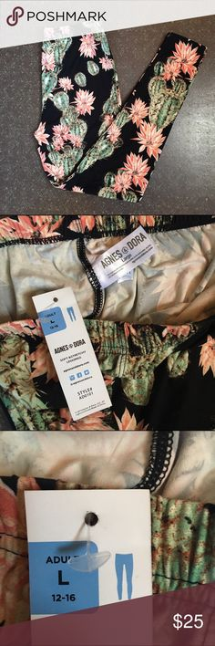 Agnes & Dora - Size L Leggings - cacti print Brand new with tags!! The most buttery soft leggings you've ever felt. Never been worn. Purchased and was too big. Size is large 12-16. agnes & dora Pants Leggings