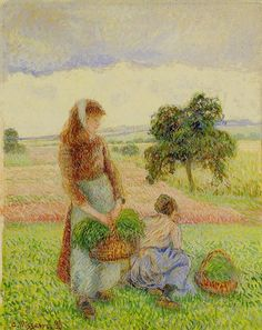 Camille Pissarro Peasant Woman Carrying a Basket hand painted oil painting reproduction on canvas by artist Renoir, Claude Monet, Impressionist Artists, Impressionism Art, Paul Gauguin, George Seurat, Camille Pissarro Paintings, Pissaro Paintings, Oil Painting Reproductions