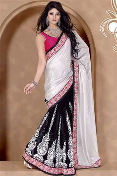 Ravishing Black, White Jacquard, Georgette Saree