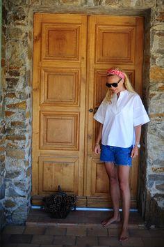 Style...Sofi Fahrman // Sofi's snapshots // summer style white Dagmar blouse and short denim