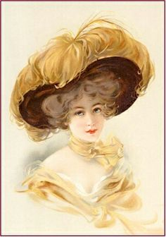 Victorian lady 5 Photo: Lady in gold ostrich hat. This Photo was uploaded by Astrovel Vintage Abbildungen, Decoupage Vintage, Vintage Beauty, Vintage Postcards, Vintage Prints, Vintage Antiques, Vintage Fashion, Victorian Pictures, Vintage Pictures