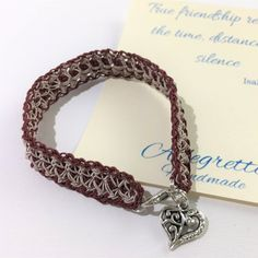 Crochet bracelet for women with heart pendant Handmade image 0 Woven Bracelets, Bracelets For Men, Mother Day Gifts, Gifts For Mom, Burgundy Weave, Cheap Christmas Gifts, Crochet Bracelet, Small Heart, Small Gifts