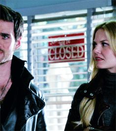 Killian and Emma (gif) Look how she slaps him; like a married couple! Lol << LOL I do that to people all the time. I totes know how it always goes down. I'm like 'slap' and the other person's always like, 'What was that for!?'