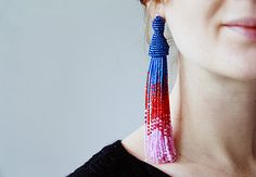 Why pay hundreds for a pair of beaded tassel earrings when it's easy to make your own? These Oscar de la Renta inspired beaded clip-on tassel earrings are the ultimate statement earring that's sure to get you noticed! | Difficulty: Intermediate; Length: Long; Tags: Jewellery, Beads, Fashion, Accessories, Embroidery Thread, Sewing Needle