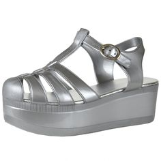 online shopping for NB By KSC Women's Platform Sandals Jelly Adjustable Strap Casual Comfort Shoes from top store. See new offer for NB By KSC Women's Platform Sandals Jelly Adjustable Strap Casual Comfort Shoes Nike Sandals, Ankle Wrap Sandals, Strap Sandals, Ankle Strap, Jelly Shoes, Jelly Sandals, Silver Sandals, Silver Shoes