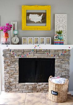 "I like the idea of photos saying ""HOME""over the fireplace..or even big craft store wooden letters?"