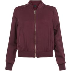 New Look Petite Burgundy Sateen Bomber Jacket found on Polyvore featuring outerwear, jackets, tops, burgundy, petite jackets, purple bomber jacket, purple jacket, blouson jacket and long sleeve jacket