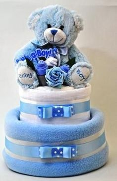 Baby boy nappy cake ideal for a new baby gift