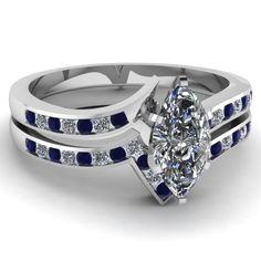 0.75 Ct Marquise Cut Diamond & Shiny Blue Sapphire Zee Shape Bridal Rings Set VS2 14K $2,639.99