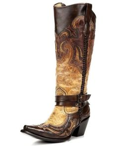 Corral Women's Cognac Harness Studded Boot G1229