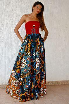 African gala dress. African fabric and Western Silk, Angolan Estlista design #LisetePote