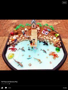 Learning and Exploring Through Play: Seaside Small World Tuff Tray Eyfs Activities, Nursery Activities, Summer Activities, Toddler Activities, Holiday Activities, Tuff Spot, Montessori, Sensory Bins, Sensory Play
