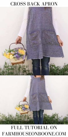 Learn how to sew a DIY linen pinafore apron for women. Cut list, pocket placement guide and video tutorial give you everything you need to make this simple Sewing Aprons, Dress Sewing Patterns, Sewing Clothes, Apron Patterns, Sewing Diy, Hand Sewing, Easy Apron Pattern, Simple Dress Pattern, Apron Tutorial